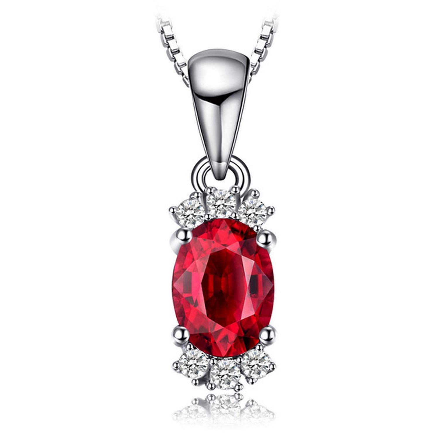 CS-DB Pendants 1.2ct Oval Natural Garnet Gemstone Silver Necklaces
