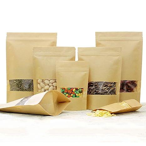100 Stk pequeñas bolsas de papel marrón con ventana, papel ...