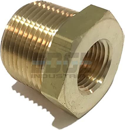 Brass Hex Bushing 1 Male x 1//2 Female Brass for Repair Threaded Pipe Fitting