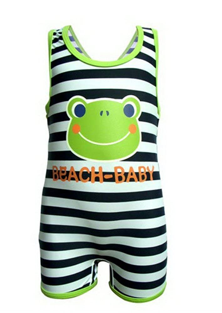 Frog Boys Body Suits Striped Sleeveless Swimsuit One Piece, 2T Under 2 Years Old PANDA SUPERSTORE PS-SPO2420245011-EMILY00865