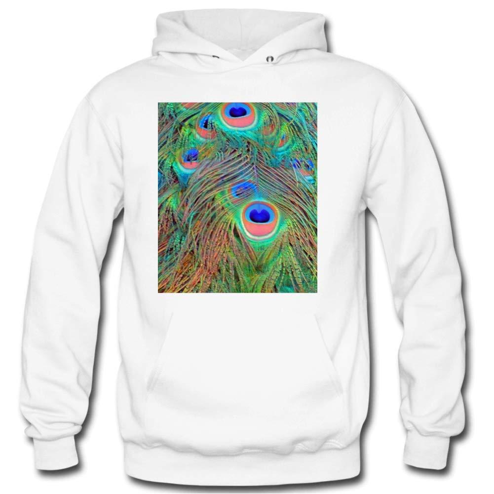 Mens Bright Peacock Feathers Long Sleeve Gray Hooded Sweatshirt Retro Sportswear