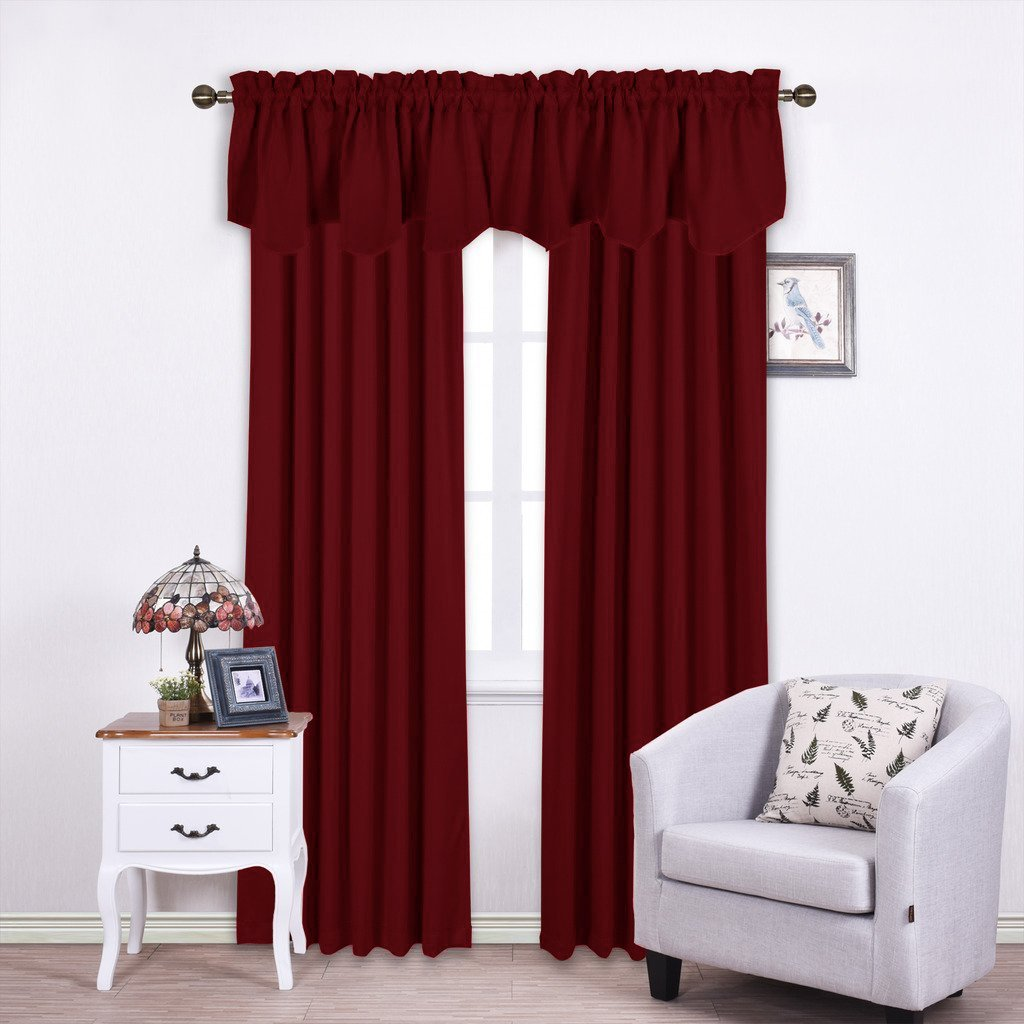 Nicetown Blackout Scalloped Valance Drape - 52-inch by 18-inch Rod Pocket Valance Curtain, Burgundy, Single Panel