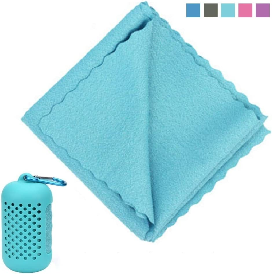 """Cooling Towel (12""""x32"""") Ice Sports Towel, Cooling Quick-Drying Towel for athletes, Microfiber Towels for Neck with Silicone Case and Carabiner Suitable for Hiking, Camping,Traveling, Gym(Light Blue)"""