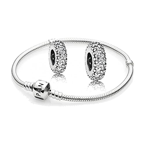 Original Pandora Geschenkset - 1 Silber Armband 590702HV und 2 Mal Silber Zwischenelement Pavé-Inspi...