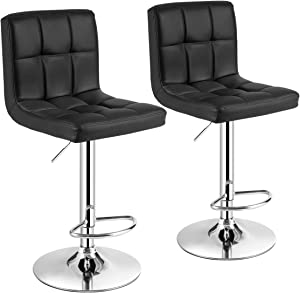 COSTWAY Bar Stool, Comfortable Swivel Adjustable PU Leather Bar Chair with Backrest, Soft Cushioned Seat, Footrest, Sturdy Metal Frame, Barstools for Kitchen, Pub(Black, Set of 2)
