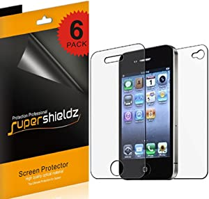 Supershieldz High Definition Clear Screen Protector Shield Designed for iPhone 4 4S (3 Front and 3 Back)