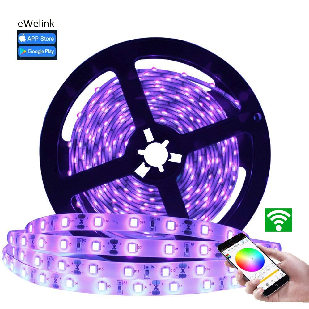 Waterproof LED Strip Lights, BeWit Wifi Smart Rope Light GRB Lights, 24 Key IR Remote Controller, Compatible with Android IOS Smartphone, Echo IFTTT Google Home