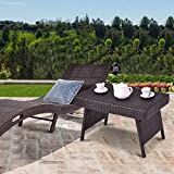 Tangkula Outdoor Wicker Table Patio Poolside Lawn Garden Rattan Steel Frame Folding Standing Coffee Table Side Table