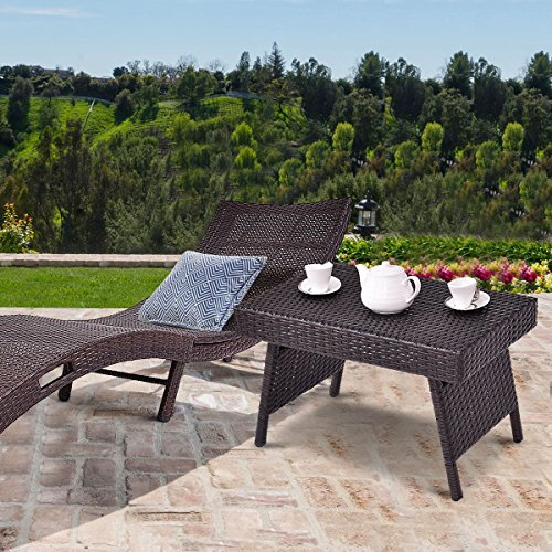 Folding Wicker - Tangkula Outdoor Wicker Table Patio Poolside Lawn Garden Rattan Steel Frame Folding Standing Coffee Table Side Table