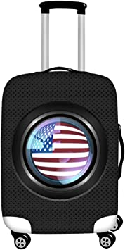 FOR U DESIGNS 18-21 Inch Classic Solid Black US Flag Print Polyester Elastic Luggage Cover with Zipper