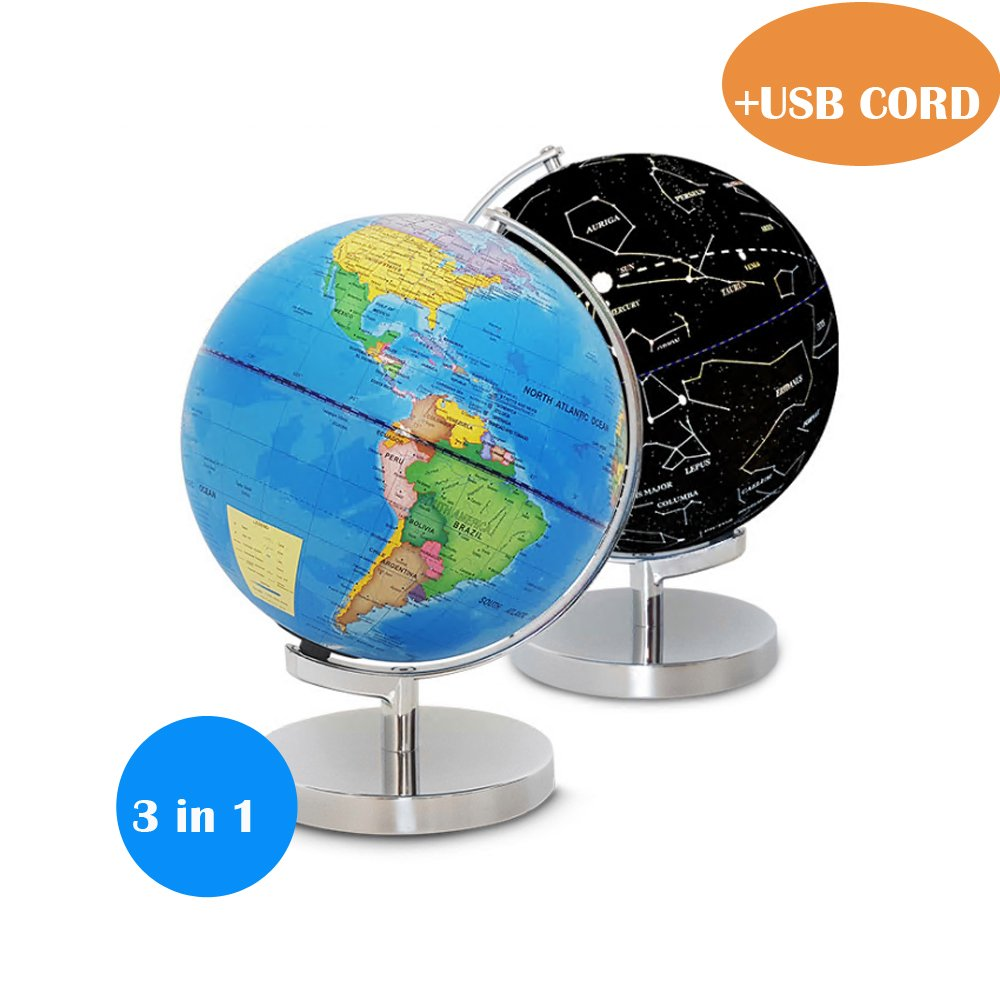 Vinmax 3-in-1 World Globe for Kids with LED Light and Stand, Shows Detailed Political Map During The Day and Illuminated Constellation at Night, USB Cord Included by vinmax