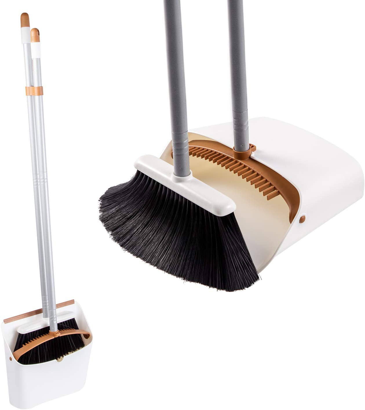 Jekayla Escoba y recogedor, barredora y recogedora de Polvo Combinados con una manija Extensible de 137 cm de Largo para el Barrido de Limpieza del hogar, Marrón-Blanco