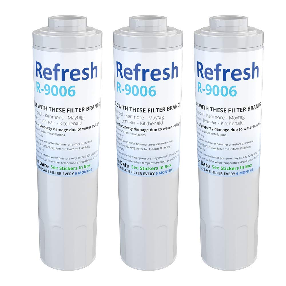 Refresh Replacement for Maytag PUR FILTER 4, Whirlpool EDR4RXD1, Everydrop Filter 4, UKF8001AXX-750, 4396395, PuriClean II, and Kenmore Filters 469006, 46 9006, 9006 Refrigerator Water Filter (3 Pack)