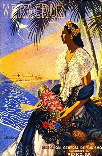 Mexico Veracruz Mexican Spanish Vintage Travel Advertisement Art Poster