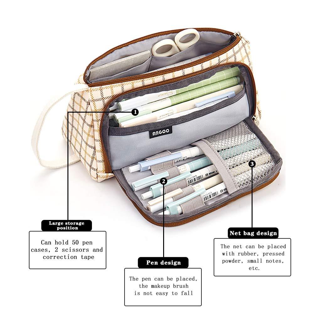 Rolin Roly Estuche Grande Capacidad Escolar Dos Compartimentos Multifuncional Lienzo L/ápiz Cosm/ética con Cremallera Caja Case Portable Papeler/ía Bolsa