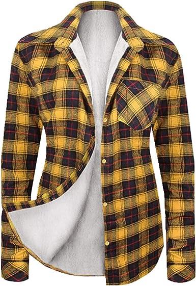 NOBRAND Nueva camisa a cuadros cálida para mujer de manga ...