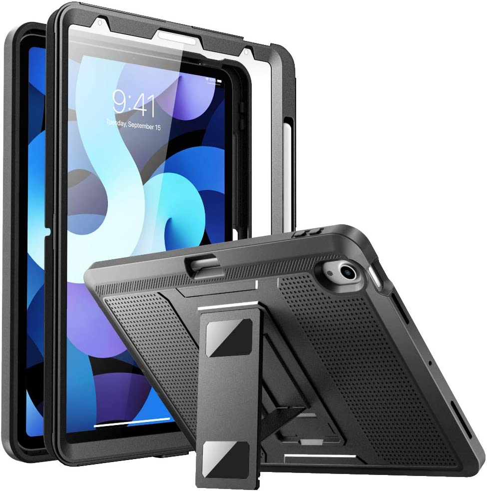MoKo Case Fit New iPad Air 4th Generation 10.9 Inch 2020, iPad Air 4 Case with Pencil Holder - [Heavy Duty] Shockproof Rugged Case, Full Protective Cover with Built-in Screen Protector - Black