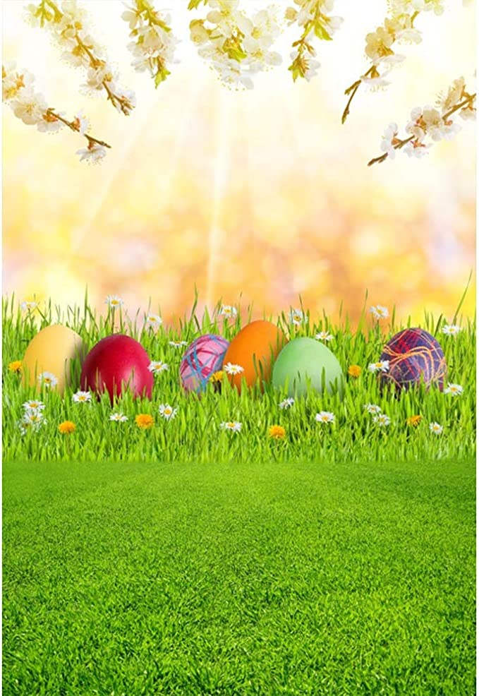 Easter Theme 10x6.5ft Polyester Photography Background Sunny Outdoor Cute Easter Egg Hiding Rabbit Grassland Spring Scenic Backdrop Community Easter Egg Hunt Day Banner Wallpaper Child Baby Shoot
