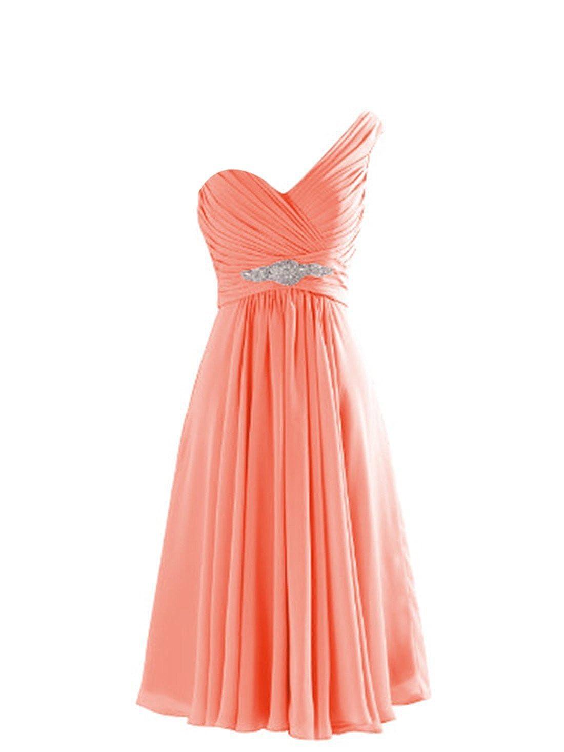 CaliaDress Women One Shoulder Bridesmaid Dress Prom Evening Gowns Short C273LF