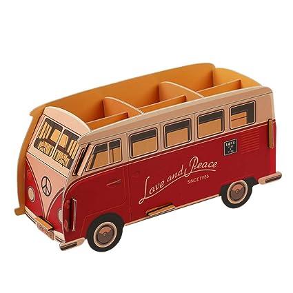Rojo Autobús Portalápiz Multifuncional Bricolaje Cartulina Escritorio Organizador de Almacenamiento de Papelería Tenedor del Cepillo del Maquillaje ...
