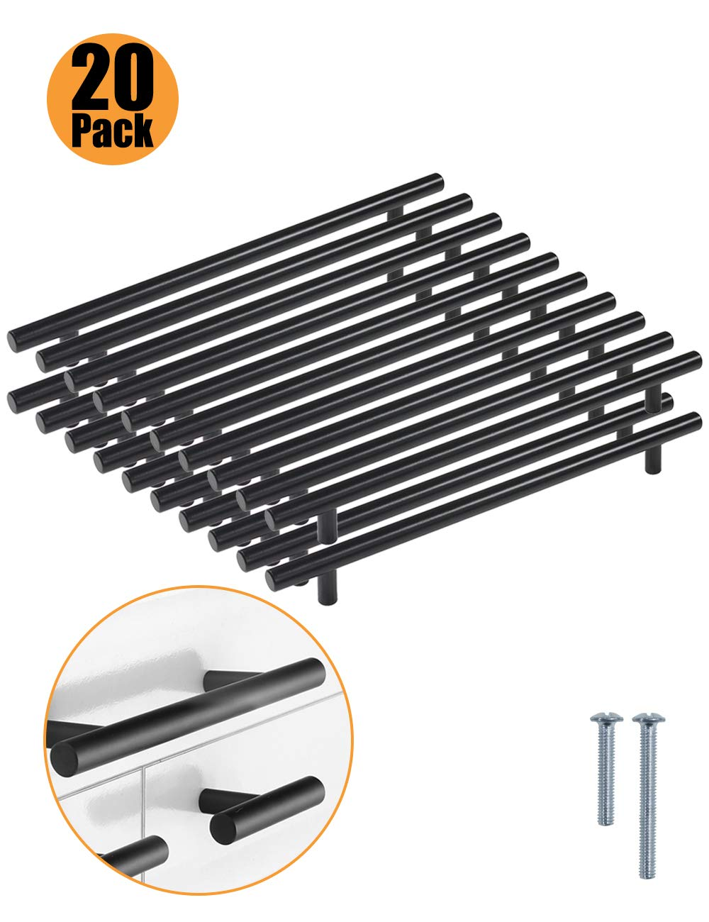 PinLin 10 Pack Kitchen Cabinet Door Handles Stainless Steel Bedroom Drawers Cup Board Pulls Hole Centre 128 mm 6x25 mm Screws Black T Bar Handle Series
