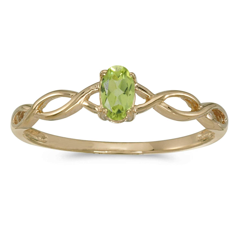 FB Jewels 10k Yellow Gold Genuine Birthstone Solitaire Oval Gemstone Wedding Engagement Statement Ring