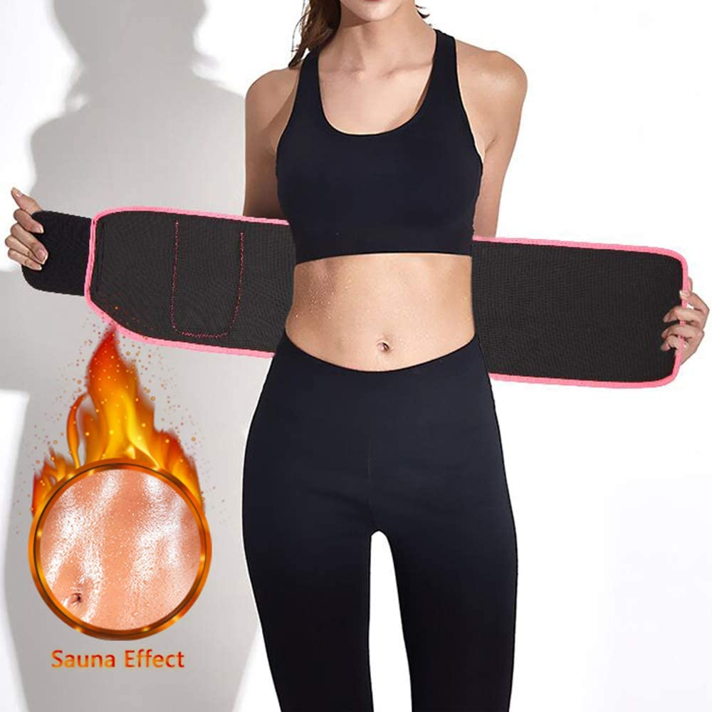 Sweat Belt for Women with Phone Pocket AB Exercise Neoprene Stomach Wrap for Weight Loss Workout Sport Fat Burners Sauna Belt GIRLADY Waist Trimmer Belt Fat Burning