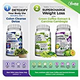 GreeNatr Weight Loss Perfect TRIO- Pure Green Coffee Bean Extract + Pure Garcinia Cambogia Extract + Colon Detox Cleanse -180 Veggie Capsules - Gluten Free