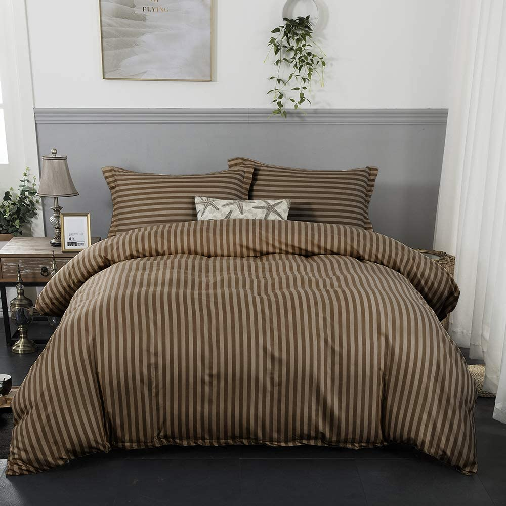 100/% Microfiber Material Omao 3-Piece Striped Duvet Cover Simple Pattern Suitable for Any Bedroom Style Zipper Closure Brown,Twin
