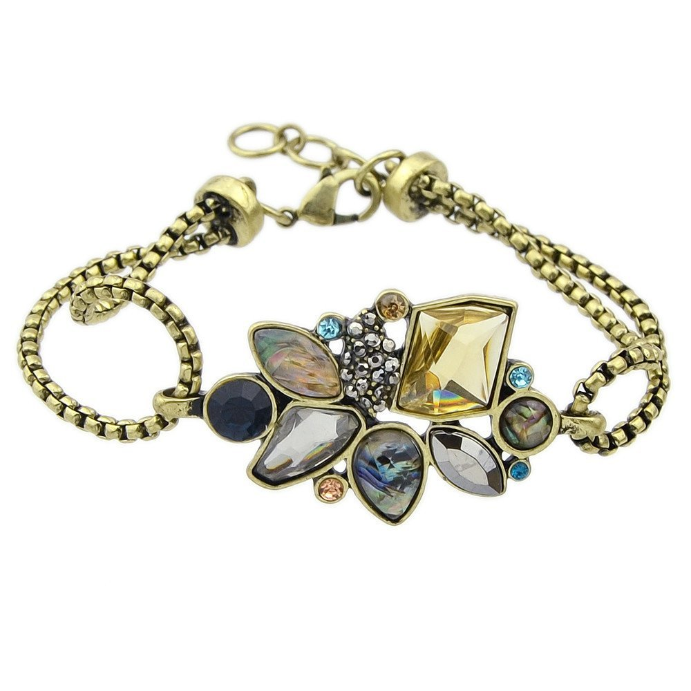 Feelontop® Fashion Vintage Style Colorful Rhinestone Flower Chain Bracelet with Jewelry Pouch FJ-BR-5290