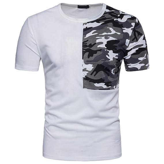Camisas De Hombre, para Hombres Fiestas Hombre Manga Cortos Camuflaje Casual Imprimir Patchwork O Cuello