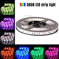 Luces de tira LED económicas, 12V SMD 5050 RGB, cinta de LED, varios colores, 300 LED, no impermeable, tiras de luz, cambio de color, paquete de tiras de 16.4 pies /5 m