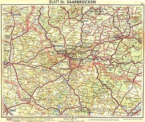 Amazoncom GERMANY Saarbrucken 1936 old map antique map