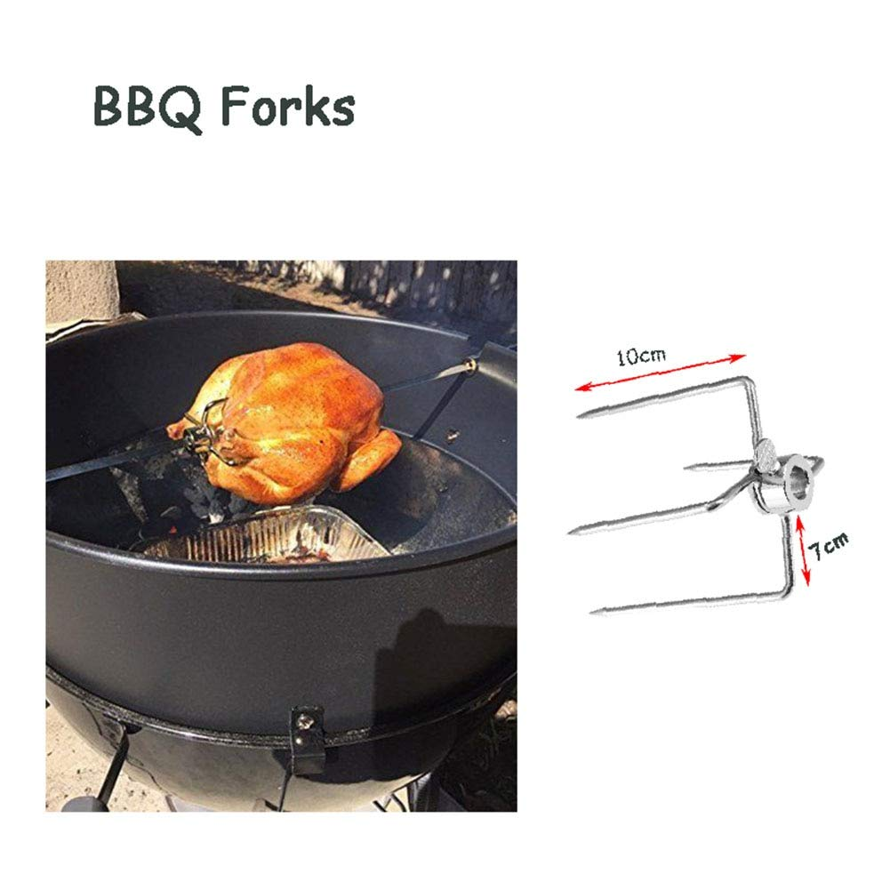 2Pcs BBQ Iron-Plated Chrome Forks Charcoal Chicken Grill Rotisserie Spit Barbecue Tools by Bennett