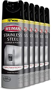 Weiman Stainless Steel Cleaner and Polish - 17 Ounce (6 Pack) - Non-Toxic Protects Appliances from Fingerprints and Leaves a Streak-less Shine for Refrigerator Dishwasher Oven Grill