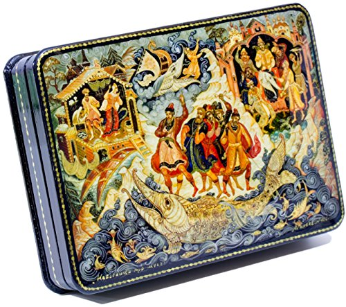 craftsfromrussia Russian Lacquer Miniature - Jewelry Trinket Box -Satko(Russian Fairytales) - Medium Size - Hand Painted in Russia (Medium, Style F)