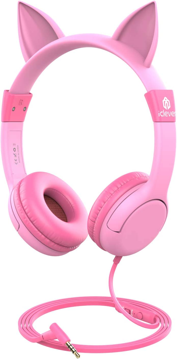 iClever Kids Headphones Girls - Cat-Inspired Wired On-Ear Headphones for Kids, 85dB Volume Limiting, Food Grade Silicone, Lightweight, 3.5mm Jack - Comfortable Children Headphones for Kids, Pink
