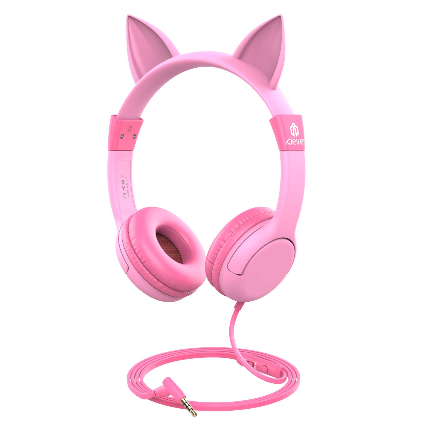 [2019 Upgrade]iClever Boostcare Kids Headphones Girls - Cat Ear Hello Kitty Wired Headphones for Kids on Ear, Adjustable 85/94dB Volume Control - Toddler Headphones with MIC for Kindle Tablet, Pink by iClever