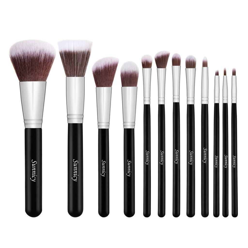 Set da 15 pennelli professionali per make-up, tra cui pennello per ombretto, pennello per fard, pennello per correttore, pennello per labbra, pennello per sopracciglia (Oro) Sunnicy
