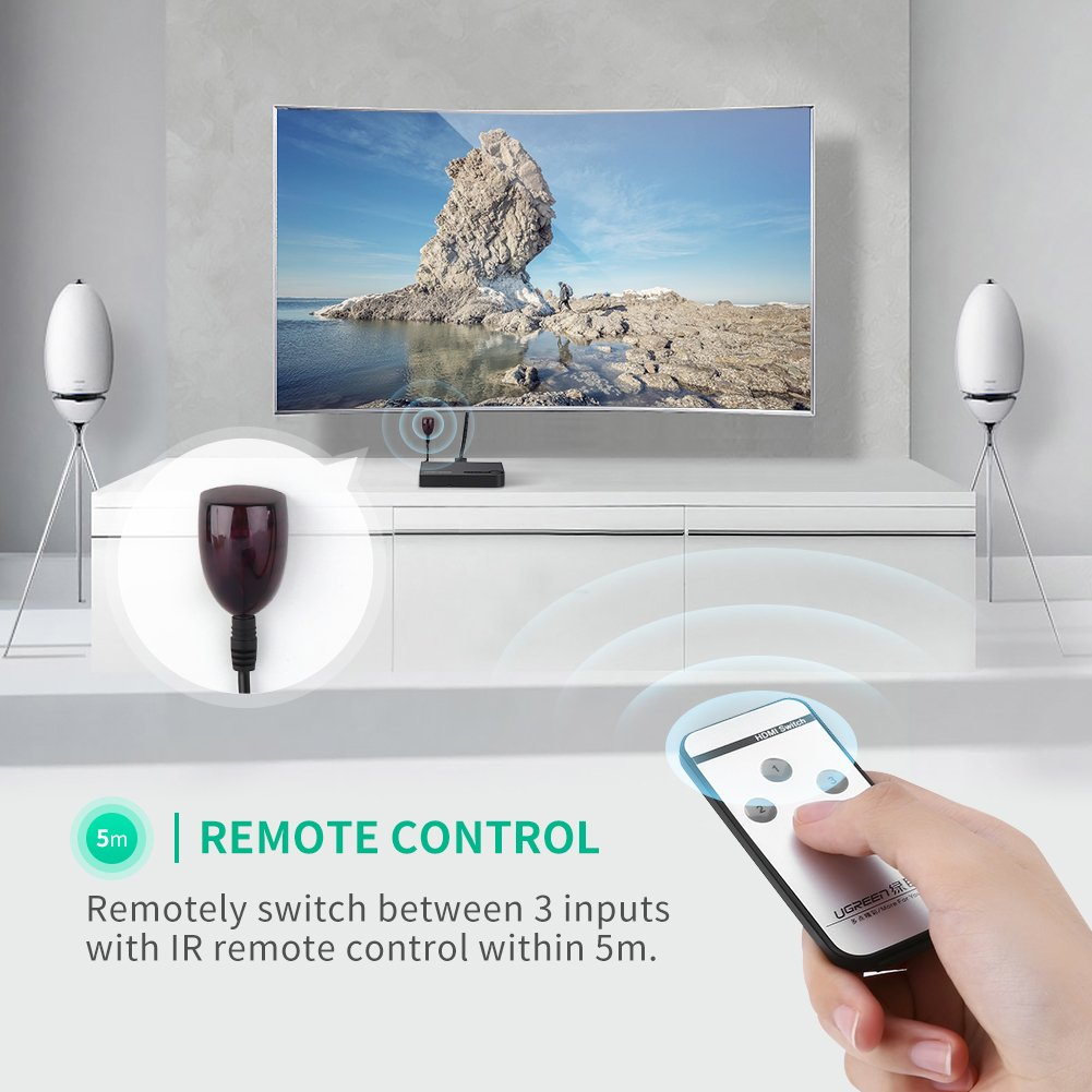 UGREEN HDMI Switch 4K, 3 Ports HDMI Switcher Hub Splitter 4K@30Hz/2K/1080P/3D with IR Remote Control for PC Laptop, Xbox 360/One, PS4/PS3, Nintendo Switch, Blu-ray player, Apple TV, Roku/Fire Stick by UGREEN (Image #5)