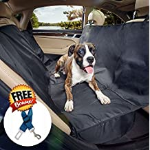 Waterproof Dog Car Seat Cover by DuraPaw - Bonus Dog Seat Belt - Seat Anchors, Side Flaps & Non-Slip Backing - Universal Design for Cars, SUV and Trucks