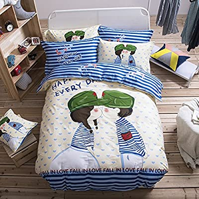 TheFit Paisley Textile Bedding for Adult U486 Green Cute Little Boy and Girl Duvet Cover Set 100% Cotton, Queen Set, 4 Piece