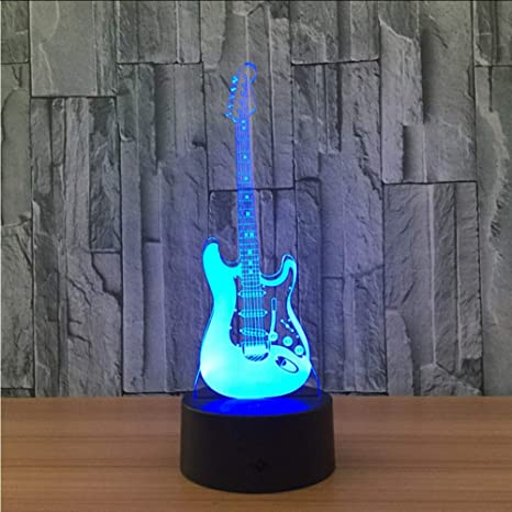 Shuyinju Creative 3D Light Modelo De Guitarra Eléctrica Ilusión Lámpara 3D Led 7 Cambio De Color