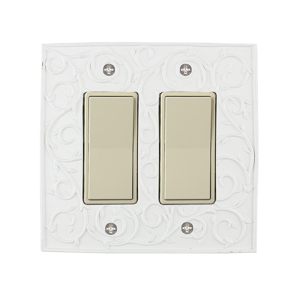 Meriville French Scroll 2 Rocker Wallplate, Double Switch Electrical Cover Plate, Off White