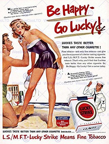 ADVERTISING 1951 LUCKY STRIKE CIGARETTES SMOKING COUPLE PICN
