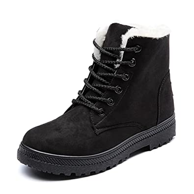 Amazon Com Ceyue Womens Suede Leather Snow Boots High Top Ankle
