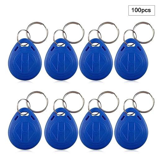 Nueva llave de tarjeta de identificación de proximidad RFID para control de acceso (azul), llaveros reescribibles Llaveros para control de acceso de ...