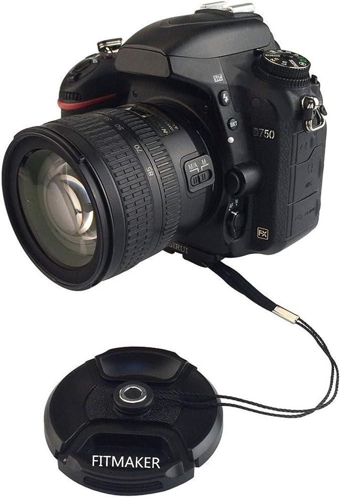 Microfiber Cloth + Lens Cap Lens Cap Center Pinch for Canon EOS Rebel T6i 55mm