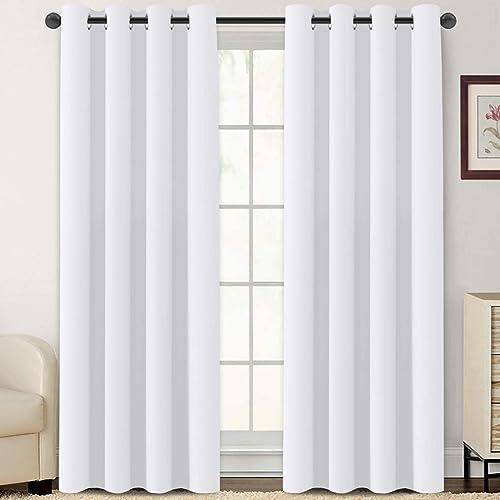 Flamingo P Pure White Curtains 108 inch Length Window Treatment Panels