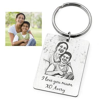Amazon com : Photo Engraved Keyring, Custom Photo Keychain for him